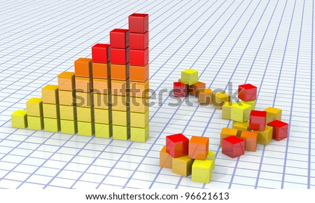 Background with diagram and cubes - stock photo