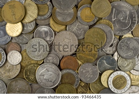 Background with different coins