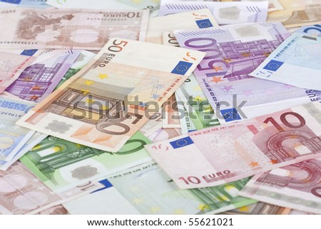 Background with different european union banknotes.