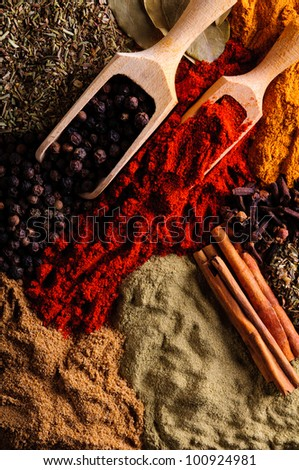 background with different spices