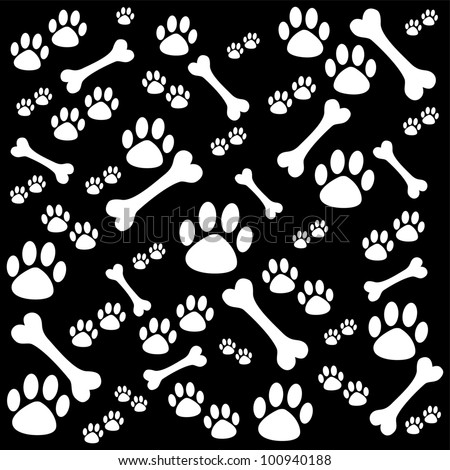 Background with dog paw print and bone. Illustration