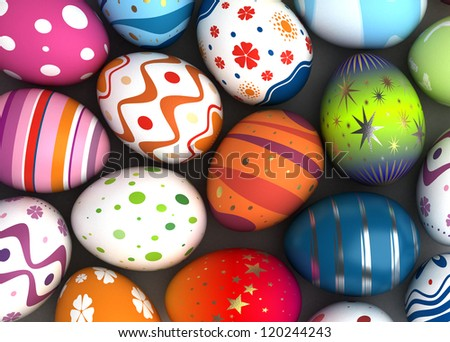 Background with Easter Eggs (Computer generated image)