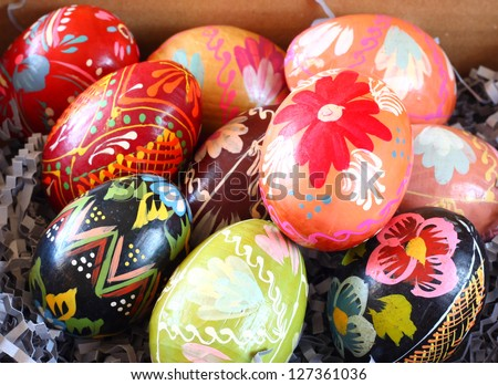 Background with Easter Eggs , or easter eggs closeup