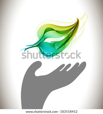 Background with ecological environment icon - gray hand and green abstract leaf