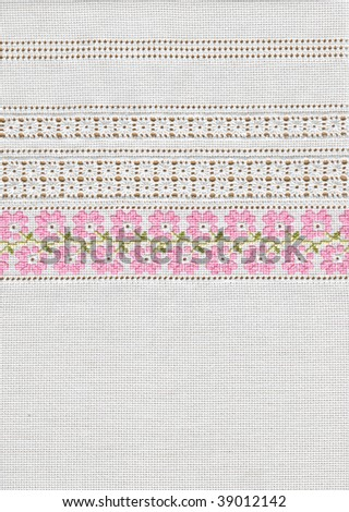 background with embroidery, cross-stitch, grid, floral pattern