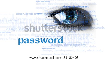 Background with eye and words - internet concept