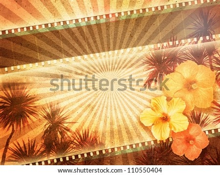 Background with film strip, palm trees and hibiscus flowers