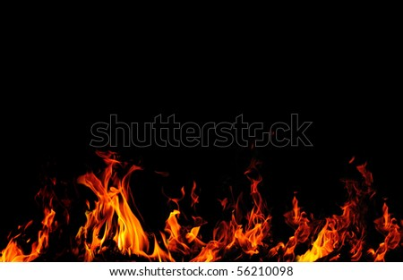 Background with fire flames isolated on black