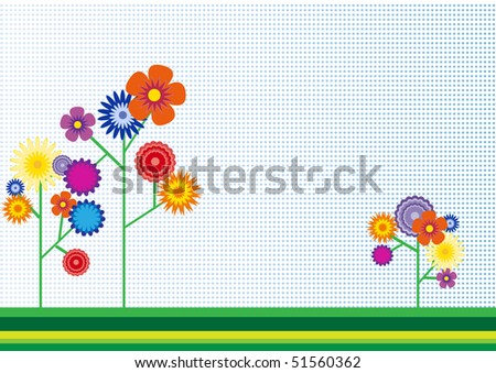 Background with flowers. Vector.