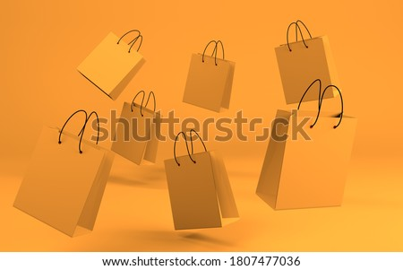 Background with flying paper bags. Seasonal sale concept. 3D render Foto stock ©