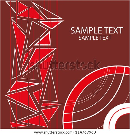 background with geometric objects and red circles and triangles