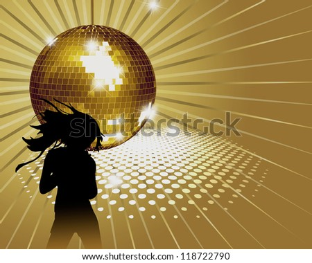 Background with girl, disco-ball.