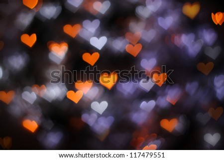Background with glowing hearts