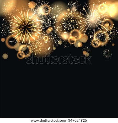 background with golden fireworks