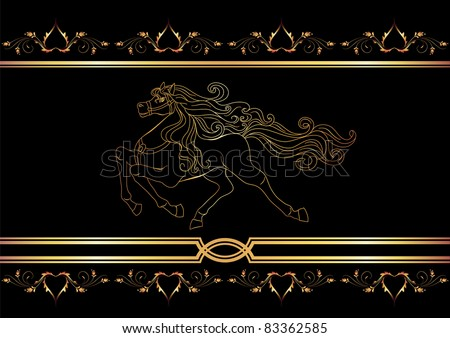 Background with golden horse. Raster version of vector.