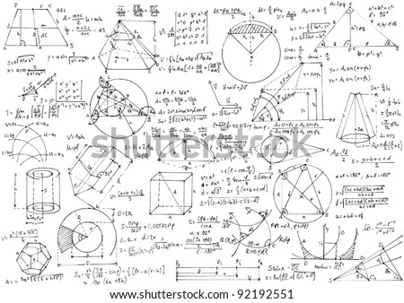 Background with hand written geometry formulas and geometric shapes and figures.