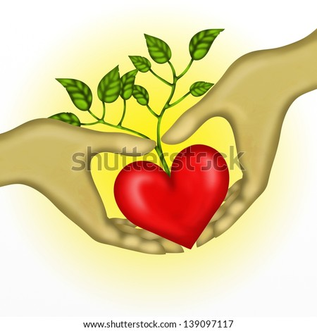 background with heart in hand