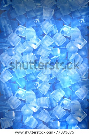background with ice cubes in blue light