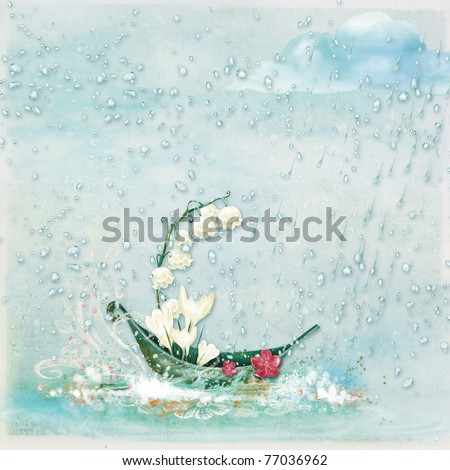 Background with illustration: a boat decorated with flowers