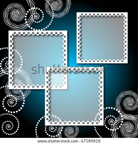 Background with lacy, elegant photo frame. Raster version of vector.