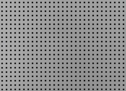 Background with many small square holes. Grey metal sheet with through square holes, textured iron. Metal grill with holes.