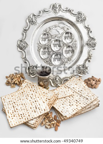 background with matzos and wine