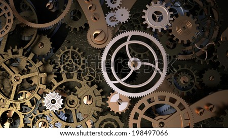 Background with metal cogwheels a clockwork Macro extreme closeup