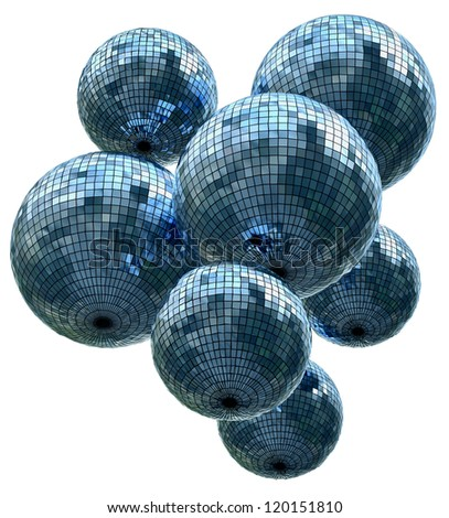 background with mirrored glitter disco balls for party