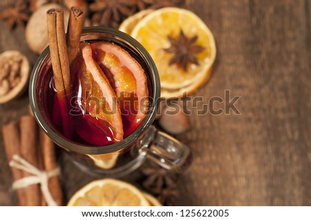 background with mulled wine and spices