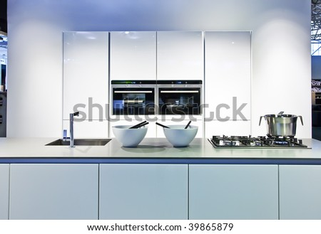 background with new kitchen - stock photo