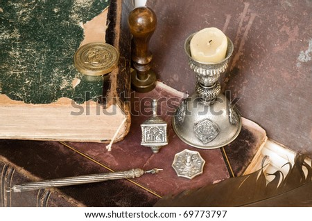 background with old book and subjects of jewish  culture