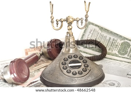 background with old telephone