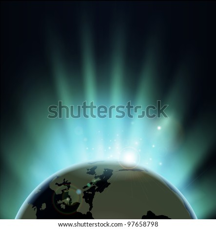 Background with rays of sun rising or setting over the earth. Europe and Africa in front.