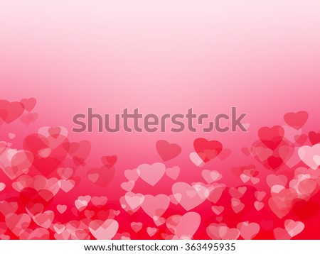 Background with red and white hearts. Symbol of love, copy space. #363495935