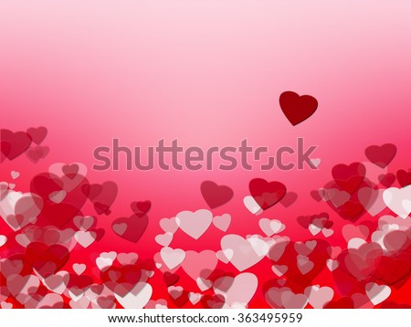 Background with red and white hearts. Symbol of love, copy space. #363495959