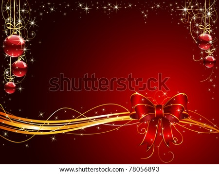 Background with red bow and Christmas balls, illustration