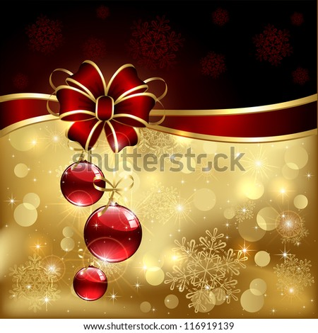 Background with red christmas baubles, illustration.
