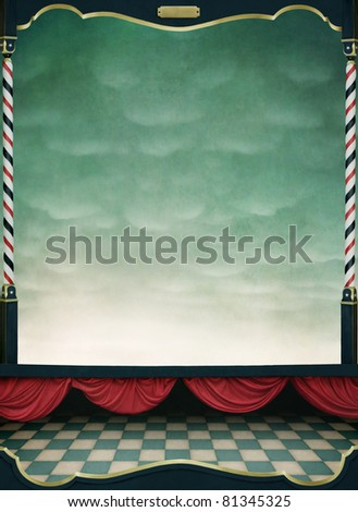 Background with red curtains and  wooden frame