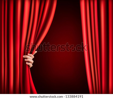 Background with red velvet curtain and hand. Raster version of vector