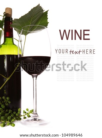 Background with red wine, goblet and green branch