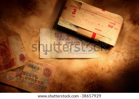 Background with roubles. Old soviet money