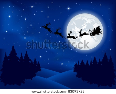 Background with Santa's sleigh, Christmas tree and stars, illustration