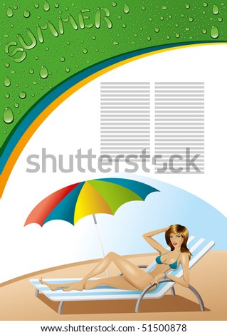 stock photo : background with sexy girl on deck-chair with umbrella
