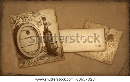 Background with sketch of wine bottle