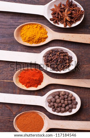 Background with spices ( turmeric , star anise , chili peppers , allspice , cloves , paprika)