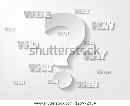 Background with sticker questions and question mark on a white background.
