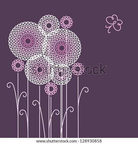 Background with stylized flowers and butterfly of doodles. Dark purple invitation and greeting card with text box. Romantic linear drawing. Abstract floral decorative illustration for print and web