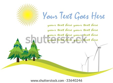 Background with sun wind and trees