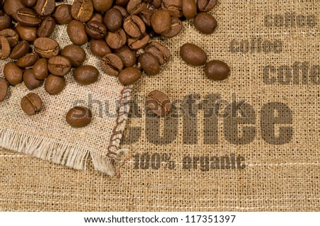 """background with texture of burlap , the words """" coffee"""" and coffee beans"""