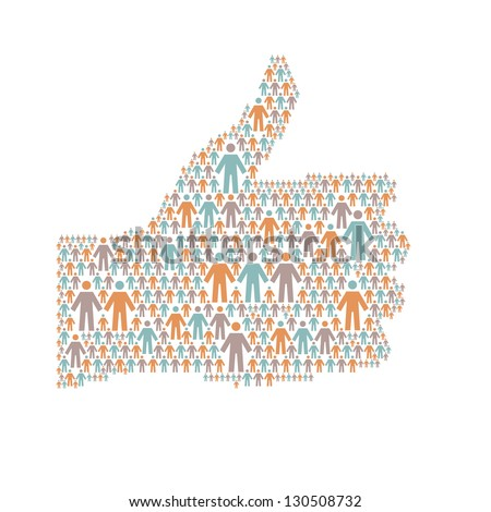 "Background with the hand of thumbs up symbol, which is composed of people colorful icon. Abstract illustration with silhouettes of person and sign ""well"". Social media concept for web, print template"